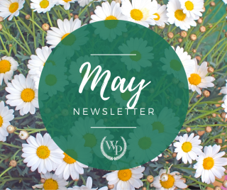 May newsletter graphic with flowers