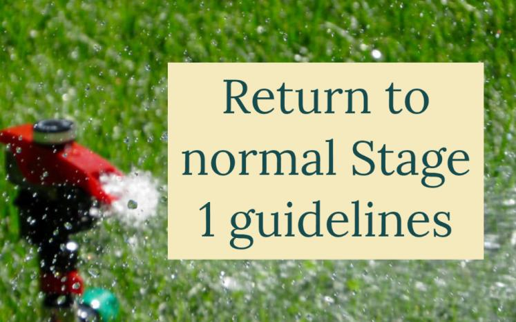 """Sprinkler graphic that says """"return to Stage 1 guidelines"""""""