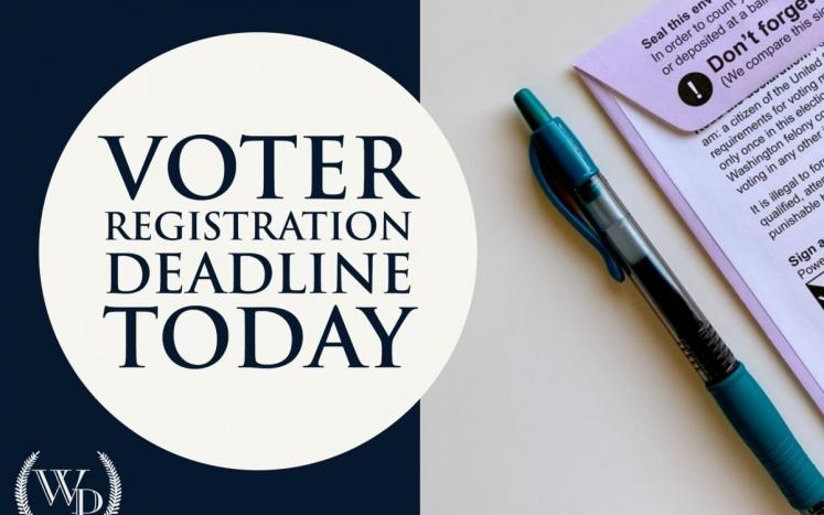"""Graphic that says """"voter registration deadline today"""""""