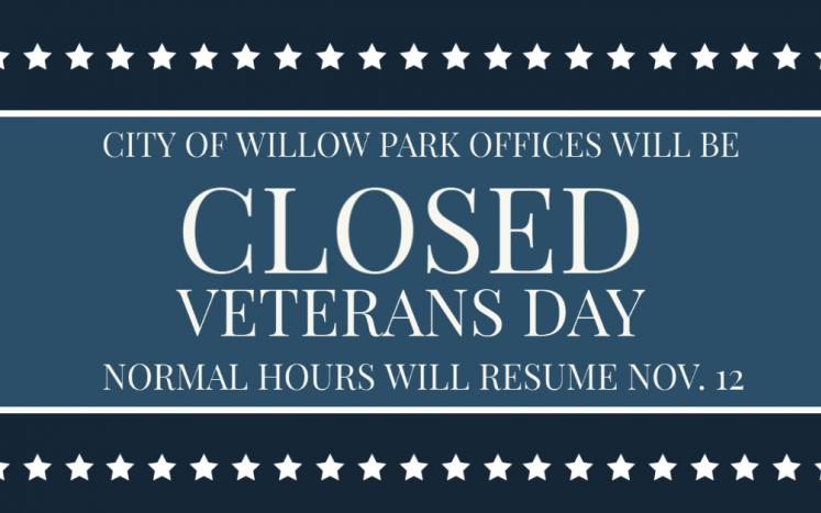 """Graphic that says """"closed Veterans Day"""""""