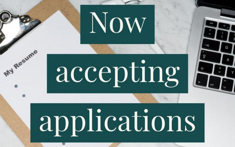 """Graphic that says """"now accepting applications"""""""